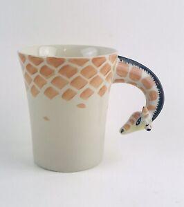 Pier 1 Imports Giraffe Coffee Tea Mug 3D Handle Handpainted Stoneware Ceramic