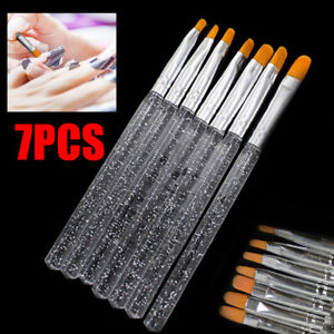 7pcs UV Gel Acrylic Crystal Design Builder Painting Nail Art Brush Pen Tool Set
