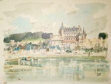 Pierre PAGES-Lithographie originale signée-Chateau bord de Loire