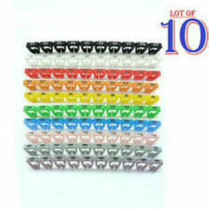 100 x Cable Markers Clip Colourful C-Type Marker Number Tag Label  4-6mm D13-New