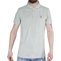 Polo Uomo Sport Cotone Colletto Righe Maniche Corte 3 Bottoni T-Shirt Grigio