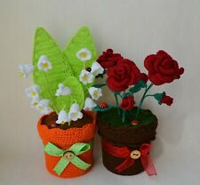 Crochet flowers pansies Lilies of the valley bluebell roses