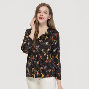Women Silk Knit Long Sleeve Shirt  Women's 100% Natural Silk Knitted Printed ...