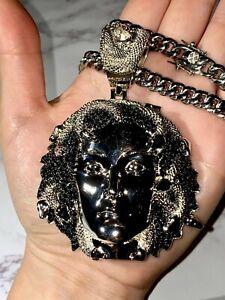 Herren Vereist 8mm Miami Kuba Kette Medusa Anhänger Snake Silber Große Halskette