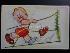 Athletic Pole Vault Theme: Illustration of Child in mid jump, Old Comic Postcard