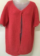 MAGGIE T Salmon, Short Sleeve Cardigan w Front Button -S1- NWT