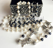Sterling Silver AAA 10MM Real Pearl Beads Wedding lasso lazo rosary gift Cross