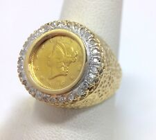 Diamond Estate 1851 $1 Liberty Head Gold Coin Ring 8 1/4 14k Yellow Gold 8.25