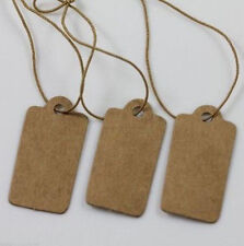 100Pcs Jewelry Price Label Blank Tags Kraft Paper With Elastic String 30mm New
