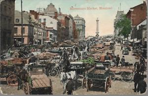 Montreal, Canada - Bonsecours Market - postcard, 1909 Prescott pmk