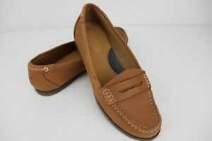 Sperry Top Sider Women Leather Penny Loafer Slip on Comfort Brown 6.5 M GUC