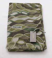 NWT Authentic Tom Ford Scarf Green and Ivory #Tf502