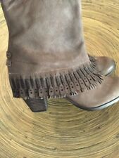Women's NAUGHTY MONKEY Fringe Leather Boots Super Cute Size 8 NEW!