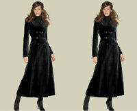 Womens Full Length Long Double Breasted Lapel Wool Blend Trench Coats Outwear