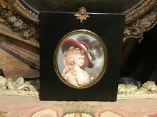 More details for printed miniature after gainsborough in verre eglomise  glazed and papier-mâché