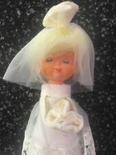 Vintage MCM Felt Bride Figure Cake Topper Blonde Doll Centerpiece Shower Japan