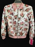 Love Fire girls jacket size M or L or XL pink and white roses zip up NEW coat