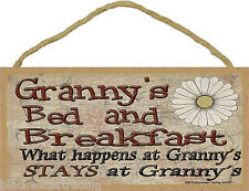 """Granny's Bed and Breakfast What Happens Stays at Grandmother Sign Plaque 5""""X10"""""""