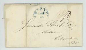 Mr Fancy Cancel Stampless Blue Philadelphia PA Columbia 1840 FLS #555