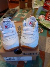 Reebok Classic Leather infant Toddler's Shoes White/Gum size 2