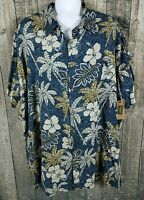 Foundry Mens Hawaiian Vacation Floral Shirt Sz 3XL Blue Aloha Button Casual NEW