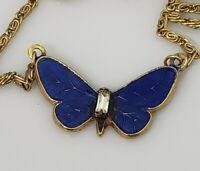 Vintage Butterfly Blue Enamel Clear Rhinestone Pendant Chain Necklace Gold Tone