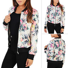 Womens Jacket Long Sleeve Bomber Biker Camouflage Floral Print Boho Coat Outwear