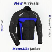 Mens Motorbike Motorcycle Road Race Jacket Waterproof Textile CE Approved Armors