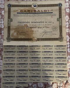 ANTICO TITOLO AZIONE Società Cooperativa NAVIGAZIONE GARIBALDI Genova anno 1936