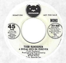 """TODD RUNDGREN - PROMO 45 on BEARSVILLE - """"A DREAM GOES ON FOREVER""""  [VG++]"""