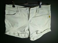 DESIGNER BETTINA LIANO / DENIM BLEACHED SHORTS / PATCH  CASUAL JEANS / SIZE 12