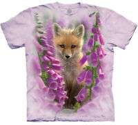 Fox Foxgloves Flowers Animal Lavender Nature The Mountain T-Shirt Adult M-3X