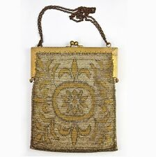 Antique French Made Heavy Metal Micro-Bead Beadwork Bag, Purse, c.1915