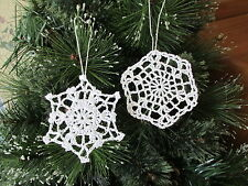 "12 Crocheted SNOWFLAKE Christmas ORNAMENTS snowflakes 4 designs 3"" FREE SHIP"