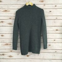 Banana Republic Women's S Green/Gray Mock Neck Side Zip Knit Sweater Small NWT