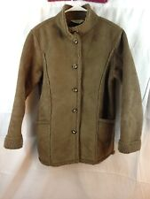 LL Bean Womens Fleece Lined Coat Jacket Brown Button Up Size small ,S