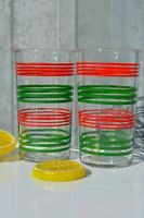 Set of 2 Swanky Swings Red and Green Strips Water Glasses