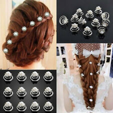 6pcs Women Wedding Bridal Flower Spirals Crystal Twist Pin Pearl Hair Clips Gift