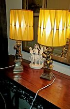 Stunning Pair of Vintage Hollywood Regency Brass Cherub Lamps w glass and shades