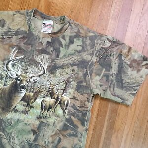 Vintage Camo Deer T Shirt Sz Medium Mossy Oak Leaf Nature Scene
