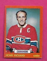 1973-74 TOPPS  # 87 CANADIENS HENRI RICHARD NRMT-MT  CARD (INV# C3663)