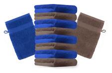 10er Pack Waschhandschuhe Premium Farbe: Royalblau & Nuss, Größe: 17x21 cm