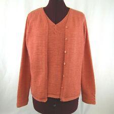 Pendleton Womens Orange Knit Sweater Set Cardigan Tank Size M Medium Lightweight