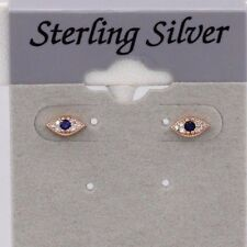 MINI EVIL EYE ROSE TONE STUD EARRING STERLING SILVER TRENDY STUDS  6mm  BLUE EYE