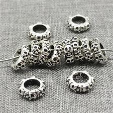 5pcs of 925 Sterling Silver 6-sided Skull Beads for European Bracelet