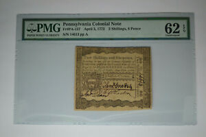Pennsylvania April 3, 1772 2s 6d PMG Uncirculated 62 EPQ.  Lovely!