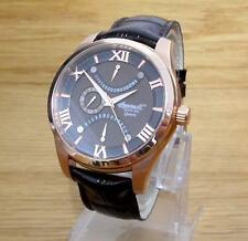Da Uomo ROSE-GOLD Ingersoll Quarzo Burlington Marrone Cioccolato RETROGRADE DATE WATCH