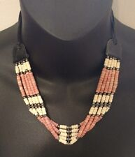 Beaded Indian Silver Leather Strap Tie Chocker or Necklace Beads White Pink Hand