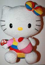 "12"" Hello Kitty TY Beanie Buddy Plush Character Cupcake Rainbow Gay Pride Sanrio"