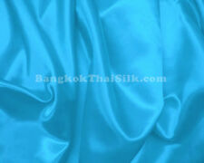 "TURQUOISE BLUE SATIN FABRIC 60""W TABLE CLOTH BRIDESMAID DRESS CHAIR TIES"
